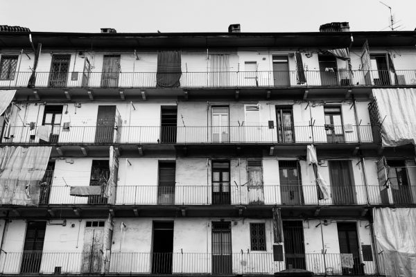 Railing houses in Barriera di Milano neighbourhood,