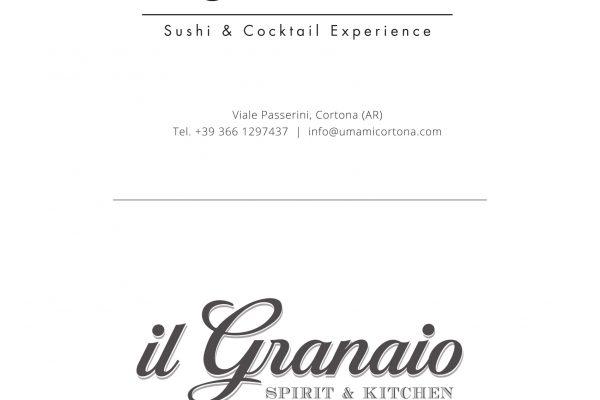 Viale Passerini, 52044 Cortona (AR), Tel 3661297437  info@umamicortona.com   Piazza Signorelli, 52044 Cortona (AR), Tel 3661297437, info@ilgranaio.com
